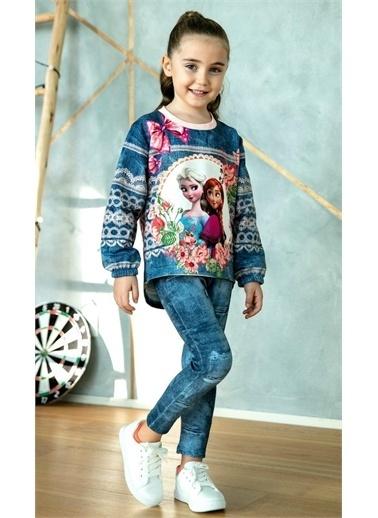 Riccotarz Kız Çocuk Çiçekli Karlar Kraliçesi Taytlı Takım Renkli